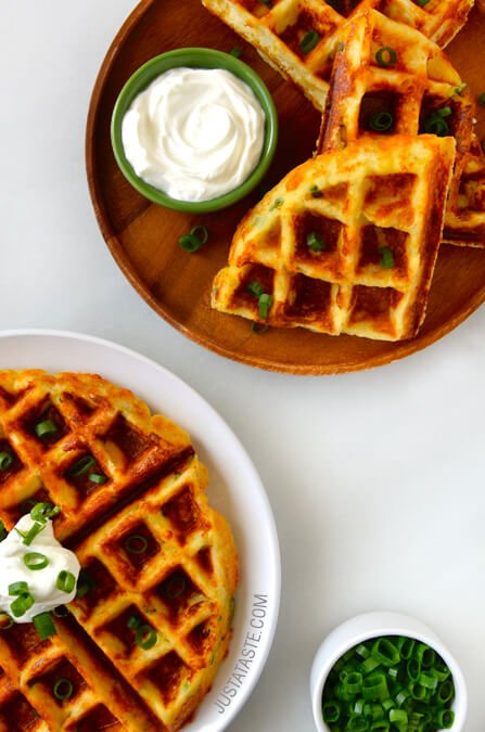 cheesy-leftover-mashed-potato-waffles