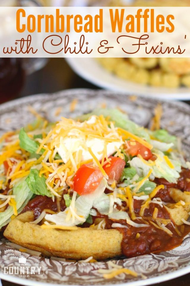 Cornbread-Waffles-with-Chili-Fixins