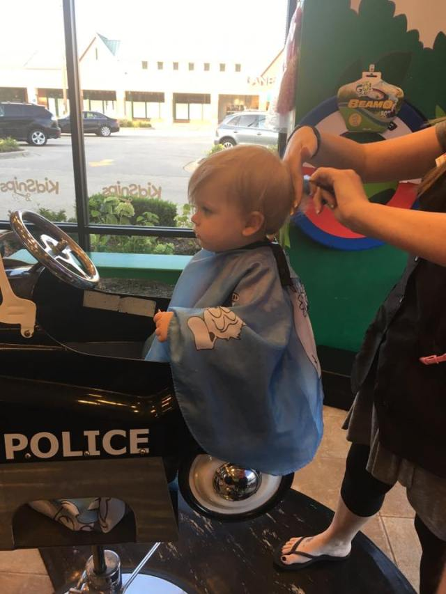 baby first haircut gavin