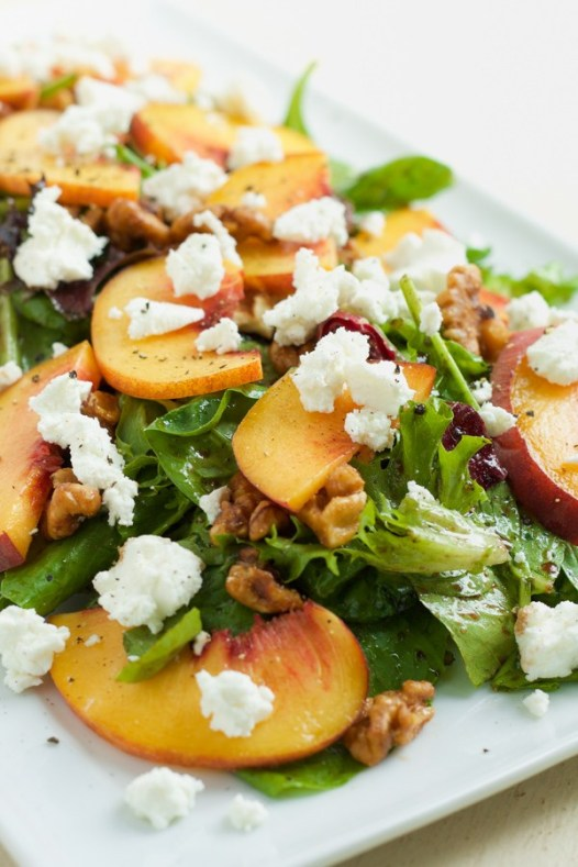peach goat cheese candied walnut salad national eat a peach day recipe